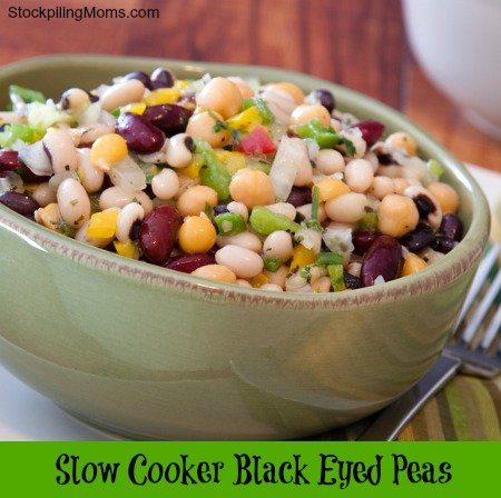 Slow Cooker Black Eyed Peas are perfect for New Year's Eve!