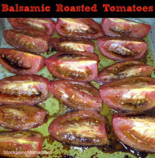Roasted Balsamic Tomatoes are a delicious low carb side dish the whole family will enjoy.