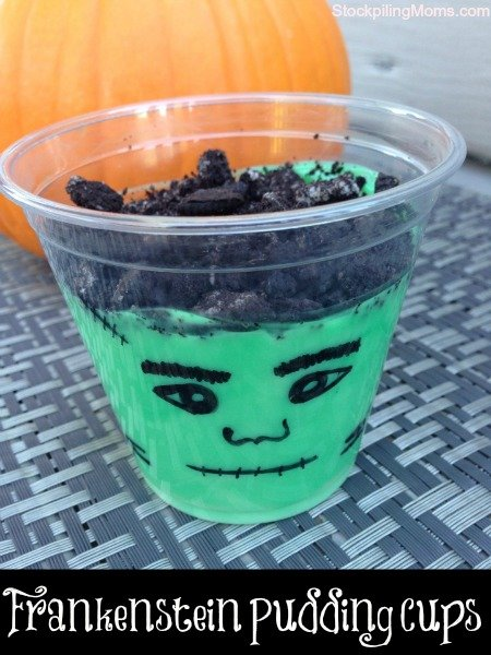 Frankenstein Pudding Cups are the perfect treat to serve at a Halloween party. Love the way they are portion controlled.