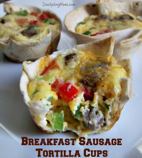 Breakfast Sausage Tortilla Cups
