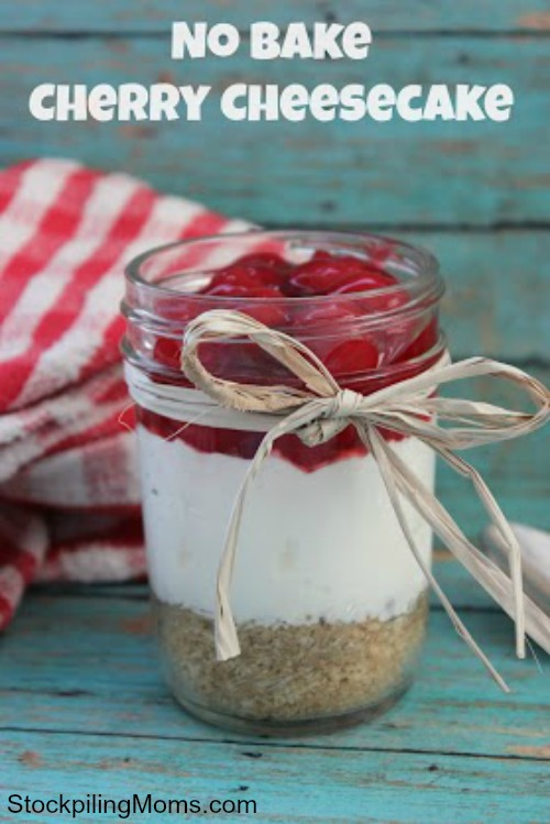 No Bake Cherry Cheesecake in a Jar Recipe