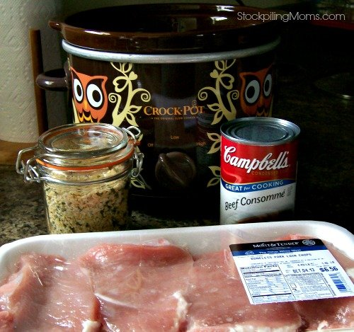 Crockpot 3 Ingredient Pork Chops Recipe is so simple to prepare and is perfect on busy weeknights for supper!