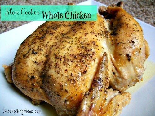 Slow Cooker Whole Chicken Recipe is my favorite for Sunday Dinner!