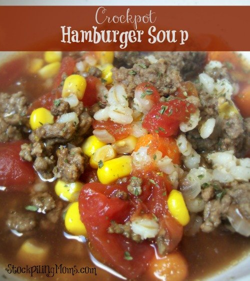 Crockpot Hamburger Soup is one of my favorite freezer meals!
