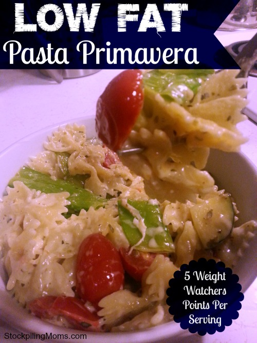 Low Fat Pasta Primavera has only 5 Weight Watchers Points per serving!