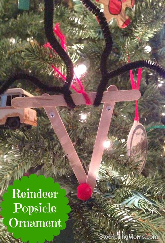 Reindeer Popsicle Ornament is the perfect craft for your kids holiday party!