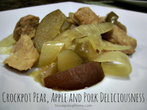 Crockpot Pear, Apple and Pork Dinner is a great healthy dinner! It is also an easy freezer meal too!