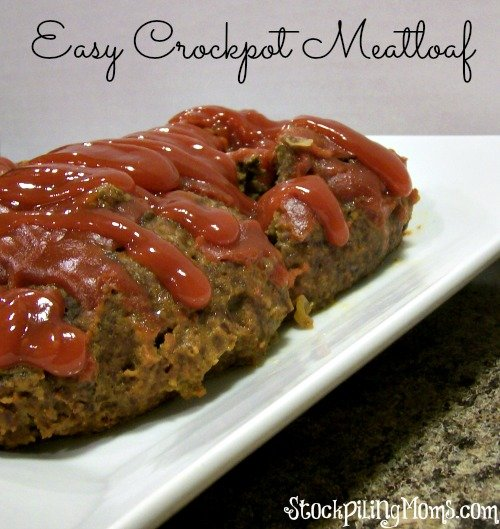 Easy Crockpot Meatloaf recipe is tasty and super easy to prepare! Great freezer meal recipe! #crockpot #freezermeal