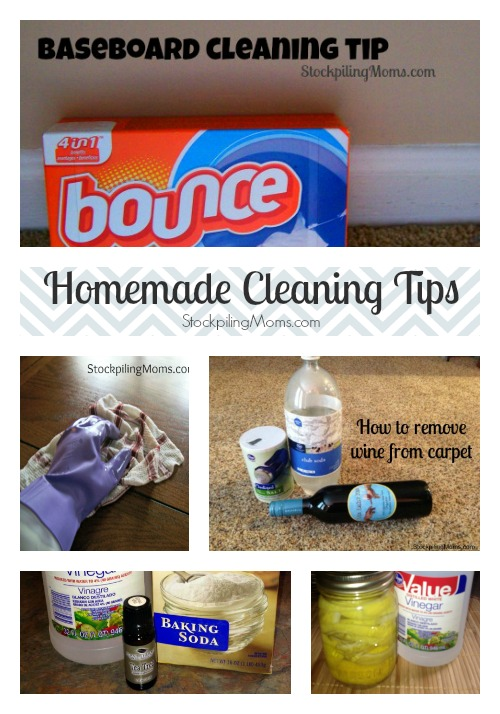 Homemade Cleaning Tips to help you clean your home from top to bottom with natural cleaners! #homemade #cleaning