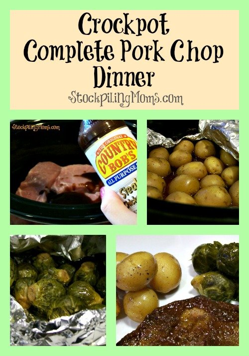 Complete Pork Chop Dinner is perfect for a busy day! All of your dinner cooks right in your crockpot! #completedinner #crockpot