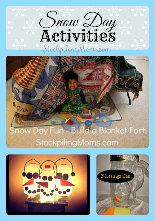 Looking for some Snow Day Activities to do with the kids, here's a great list of fun things to do!