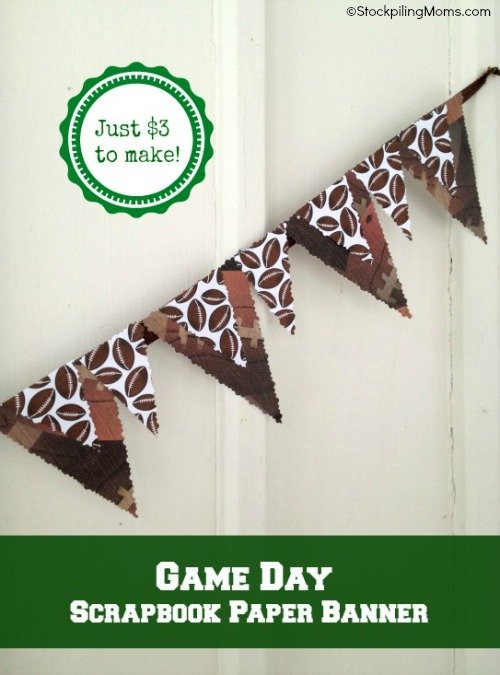 DIY Game Day Bunting Banner is a simple and inexpensive decoration for a sports themed party!