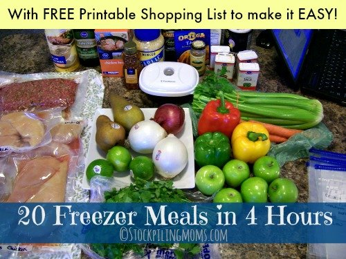 20 Freezer Meals in 4 Hours plan PLUS a printable shopping list to make it easy!