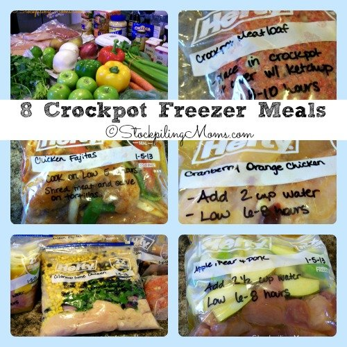 8 Crockpot Freezer Meals Collage