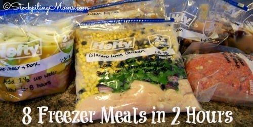 8 Crockpot Freezer Meals in 2 hours is a great way to save time and money!