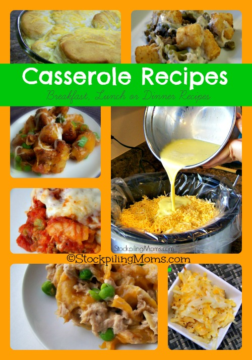 Here are 34 Casserole Recipes perfect for breakfast, lunch or dinner! #casserole