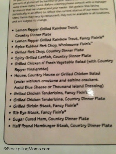 Cracker Barrel Gluten Free Menu