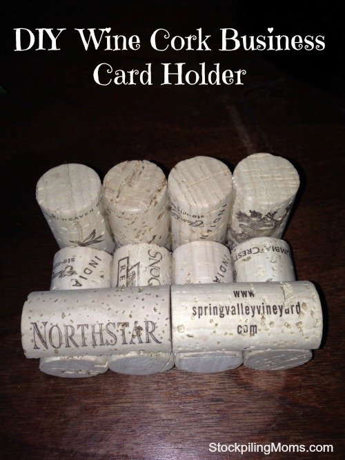 diy wine cork business card holder is perfect for fathers day diy - Diy Business Card Holder