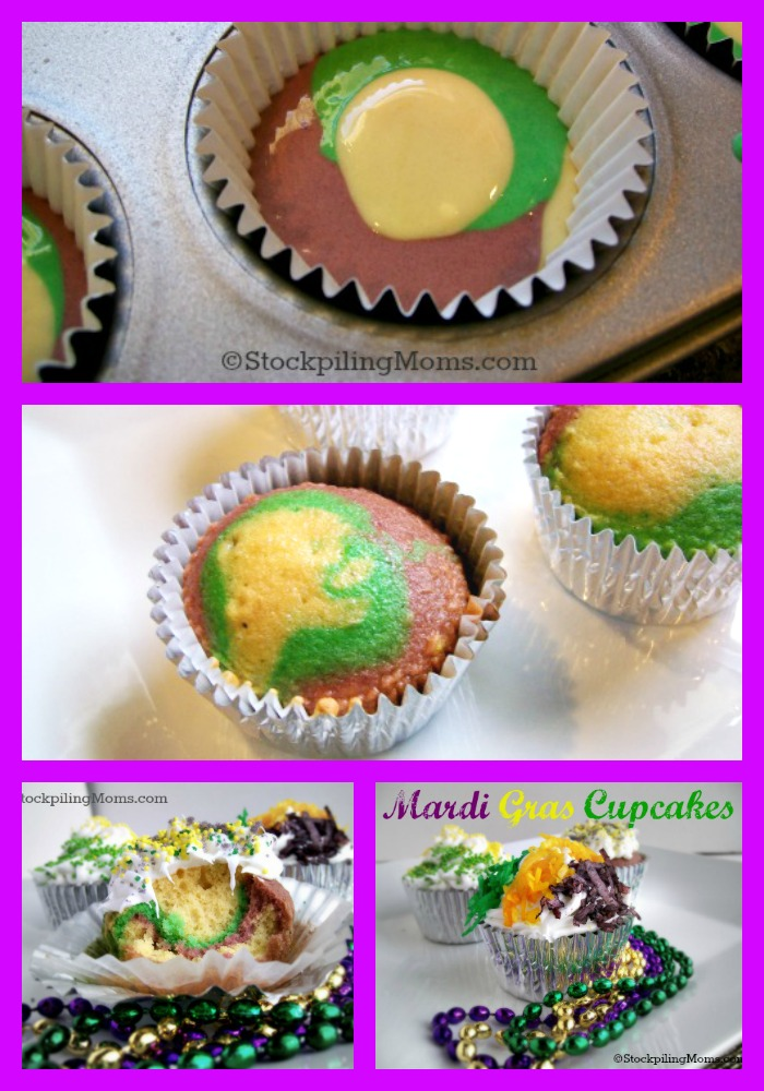Tie Dye Mardi Gras Cupcakes are perfect for parties and Fat Tuesday!