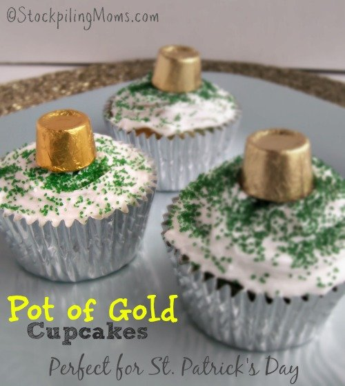 Pot of Gold Cupcakes are perfect for St. Patrick's Day. So easy to make a kids love them!