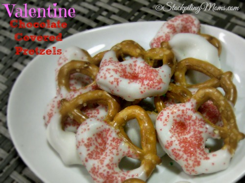 These Valentine Chocolate Covered Pretzels are simple to make and great to give as a gift!
