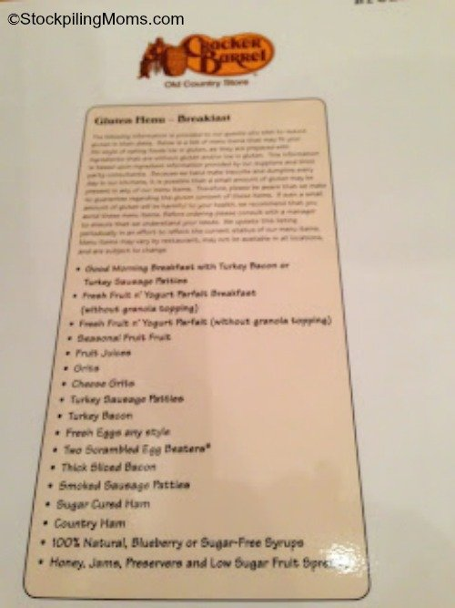 cracker barrel gluten free breakfast menu