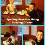 spelling practice using shaving cream
