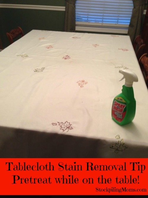 tablecloth strain removal tip  pretreat while on the table