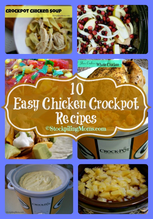 10 Easy Chicken Crockpot Recipes prepped in 20 minutes or less! #crockpot #slowcooker #chicken #20minutesorless