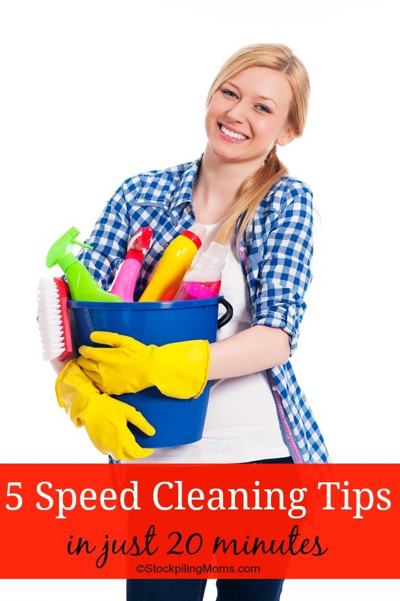 5 Speed Cleaning Tips and Tricks to help you quickly and easily clean your home. These speed cleaning tips will also help you maintain a tidy house on a daily basis.
