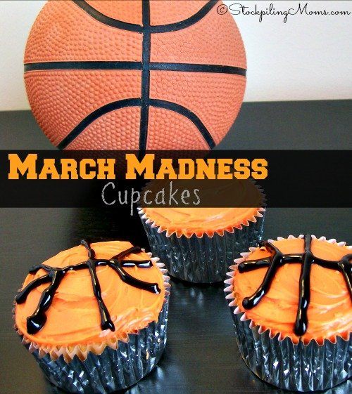 March Madness Cupcakes are perfect for the NCAA basketball lover in your house!