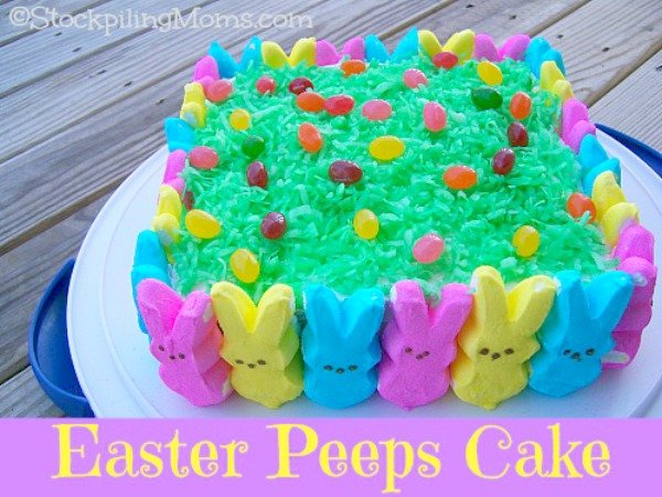 Easter Peeps Cake is a crowd pleaser! Everyone loves this cake for Easter celebrations! Perfect for Spring too!