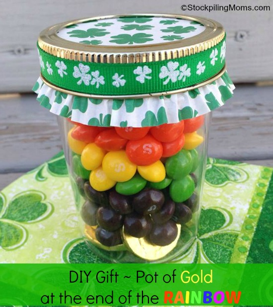We love this DIY Gift Idea! Make a Pot of Gold at the end of the Rainbow and share the luck of the Irish with this festive idea!