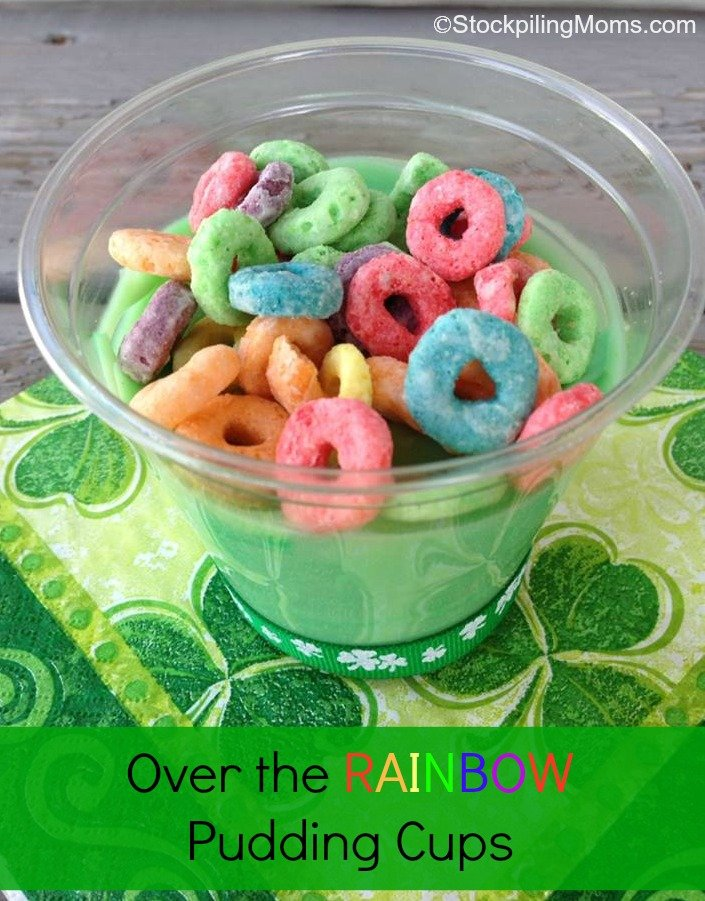 Over the Rainbow Pudding Cups are an easy treat for St. Patrick's Day! Your kids will love this!