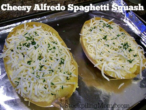 Cheesy Alfredo Spaghetti Squash is delicious and healthy! This is a vegetarian recipe that everyone will love!