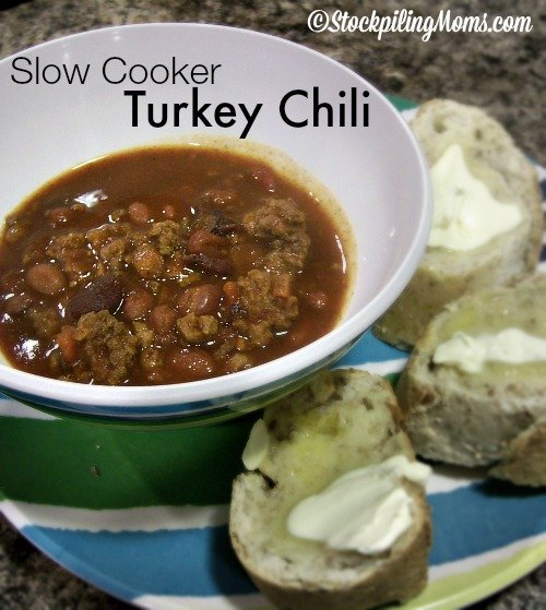Slow Cooker Turkey Chili is the best chili! Making this recipe with turkey instead of beef is a great way to reduce calories.