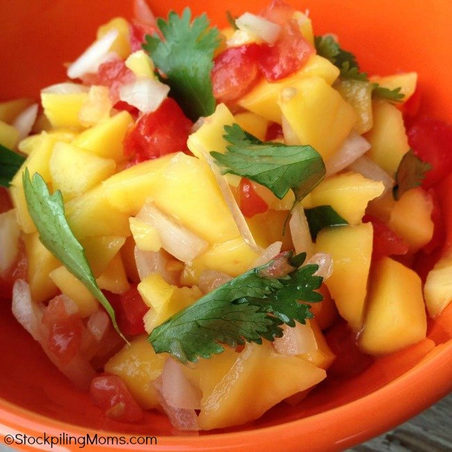 Love this light and fresh Mango Salsa recipe! It pairs well with salmon or you can enjoy it with a chip!