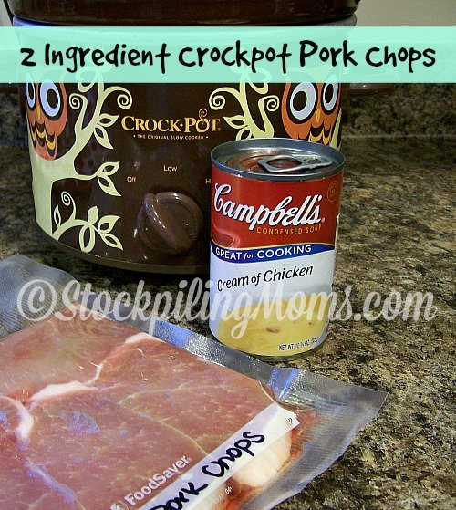 2 Ingredient Crockpot Pork Chops is so easy to make!
