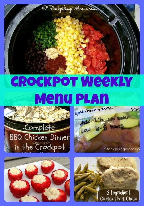 Crockpot Weekly Menu Plan that will save you time in the kitchen for the busy week ahead! #crockpot #dinner #menuplan