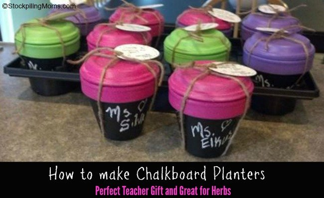 How to make Chalkboard Planters - the perfect teacher gift!