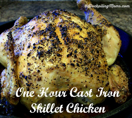 One Hour Cast Iron Skillet Chicken recipe is easy and simple! Only 4 ingredients needed!