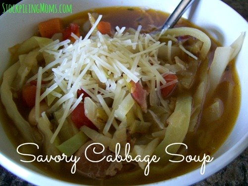 Savory Cabbage Soup is a healthy, clean eating soup!