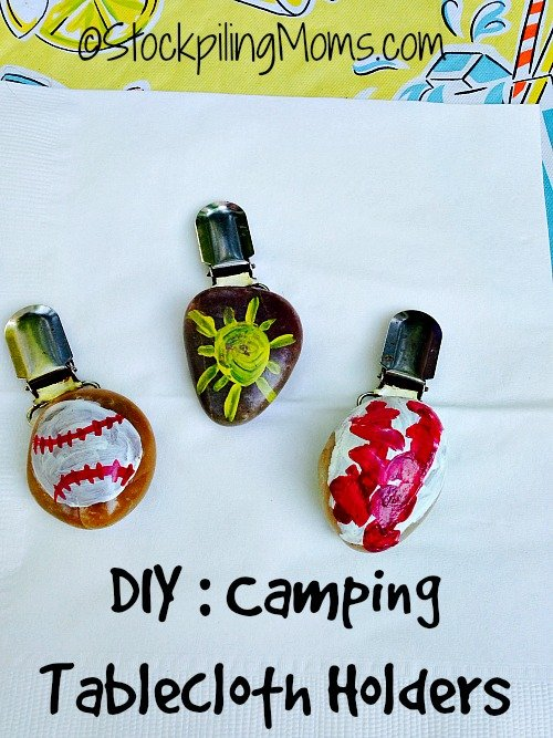 DIY Camping Tablecloth Holders - great project to do with the kids! #camping