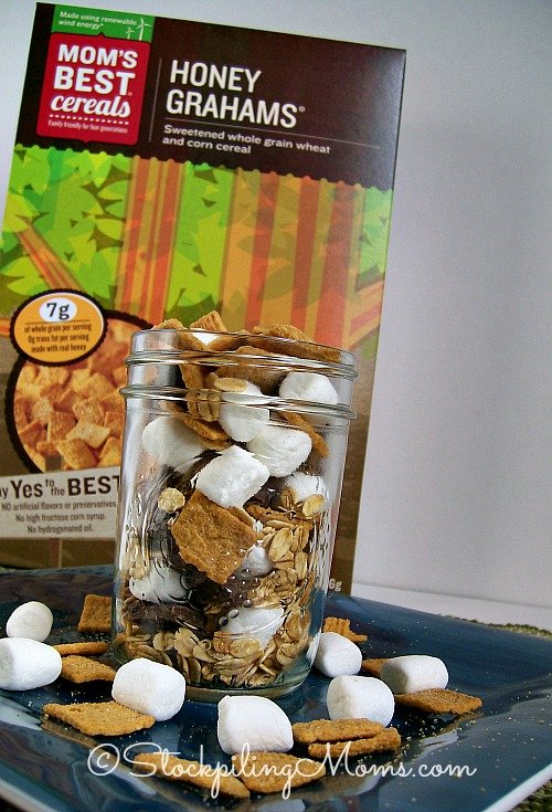 S'mores Trail Mix is delicious and super easy to make! Perfect for a road trip!