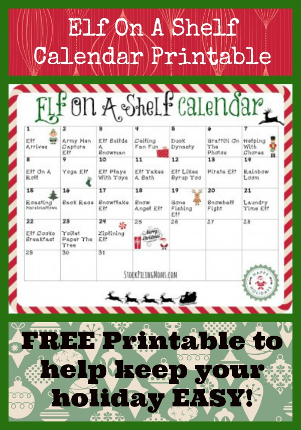 FREE Elf on the Shelf Calendar Printable - we have 24 days of Elf on the Shelf fun for you so you don't have to stress during the holidays with a free supply list too!