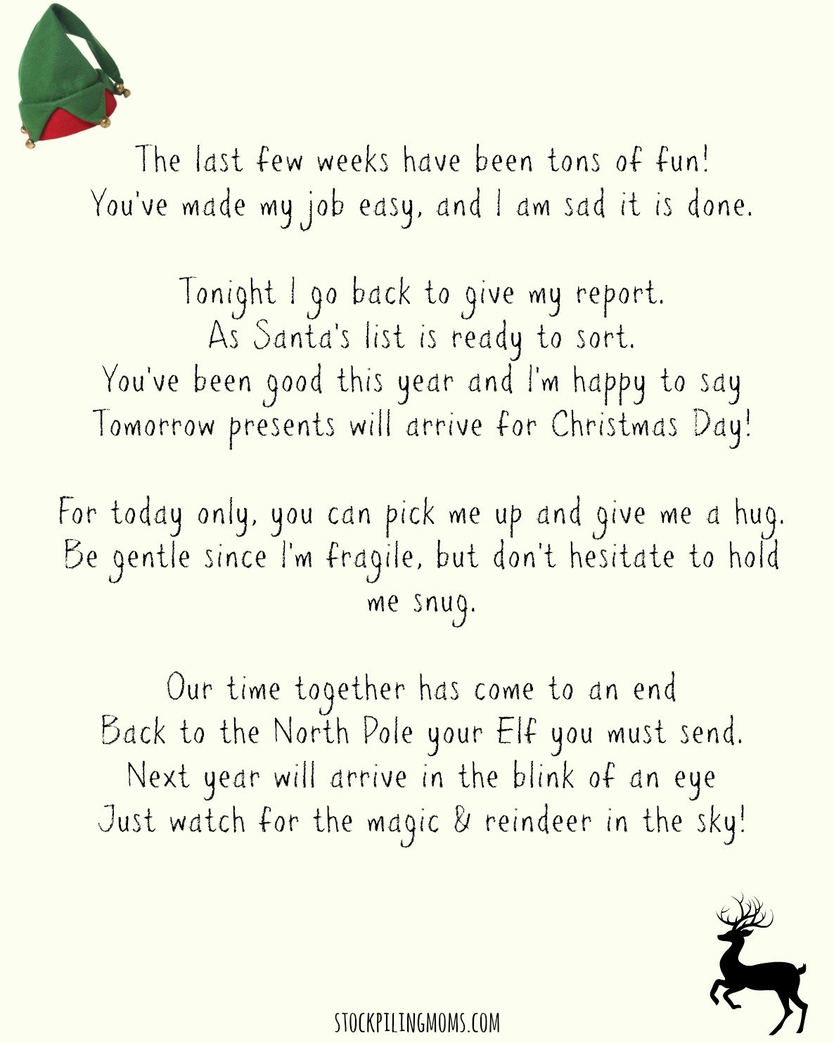 It is a picture of Old Fashioned Elf on the Shelf Goodbye Letter Free Printable