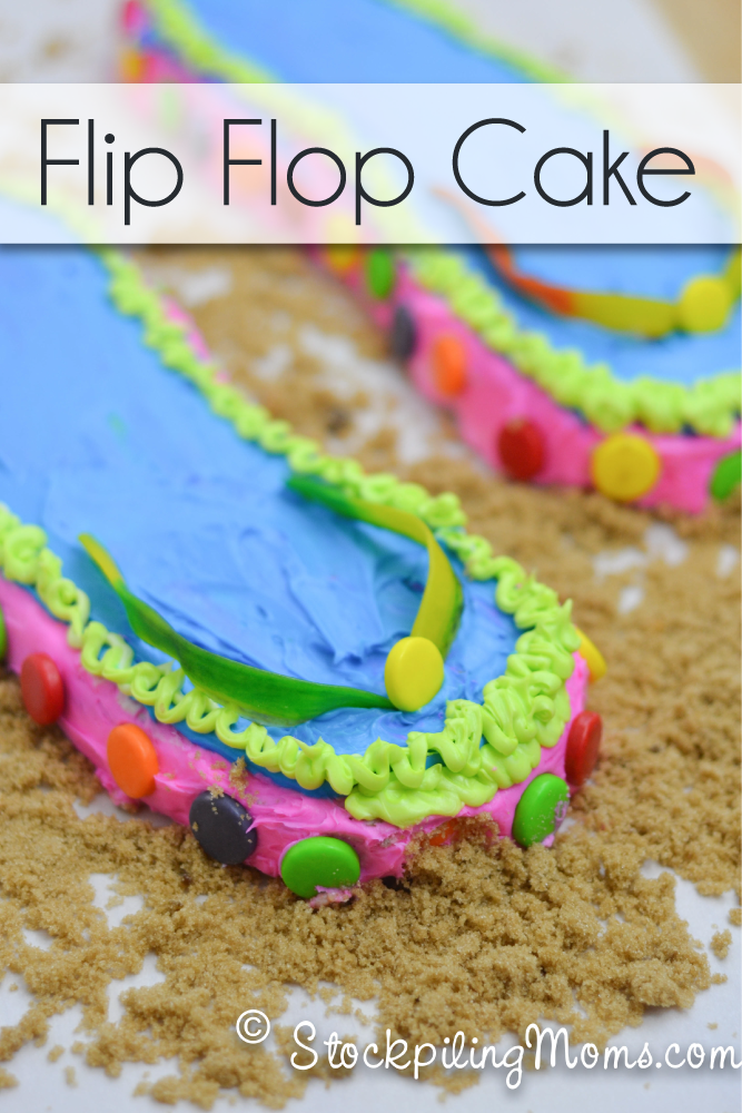 This Flip Flop Cake is so much fun for summer! It would be a great birthday party cake if you have a summer birthday.