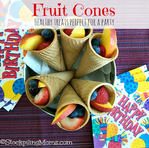 Fruit Cones are the perfect treat for a party! A great way to encourage kids to eat fruit instead of ice cream and easy for serving.