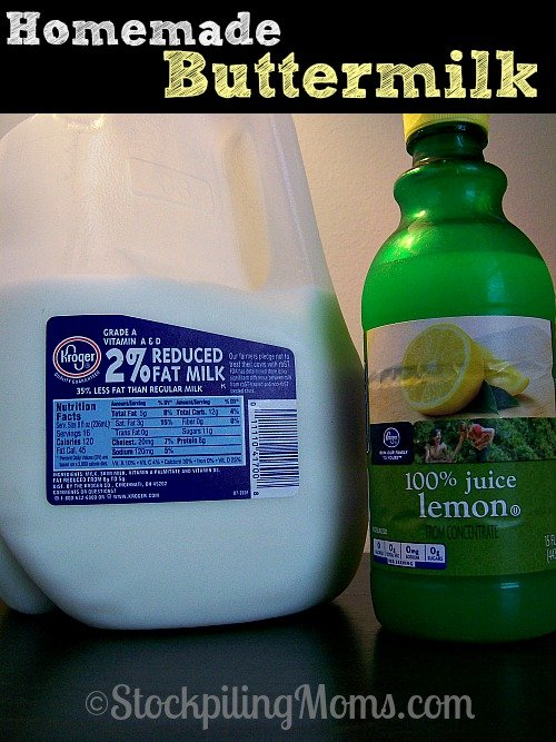 Homemade Buttermilk made with only 2 ingredients! A great way to save money!