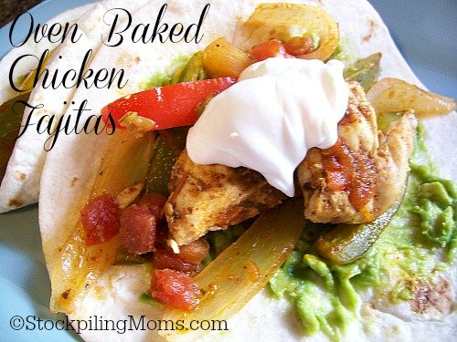 Oven Baked Chicken Fajitas is a great one dish meal that's ready in 30 minutes!
